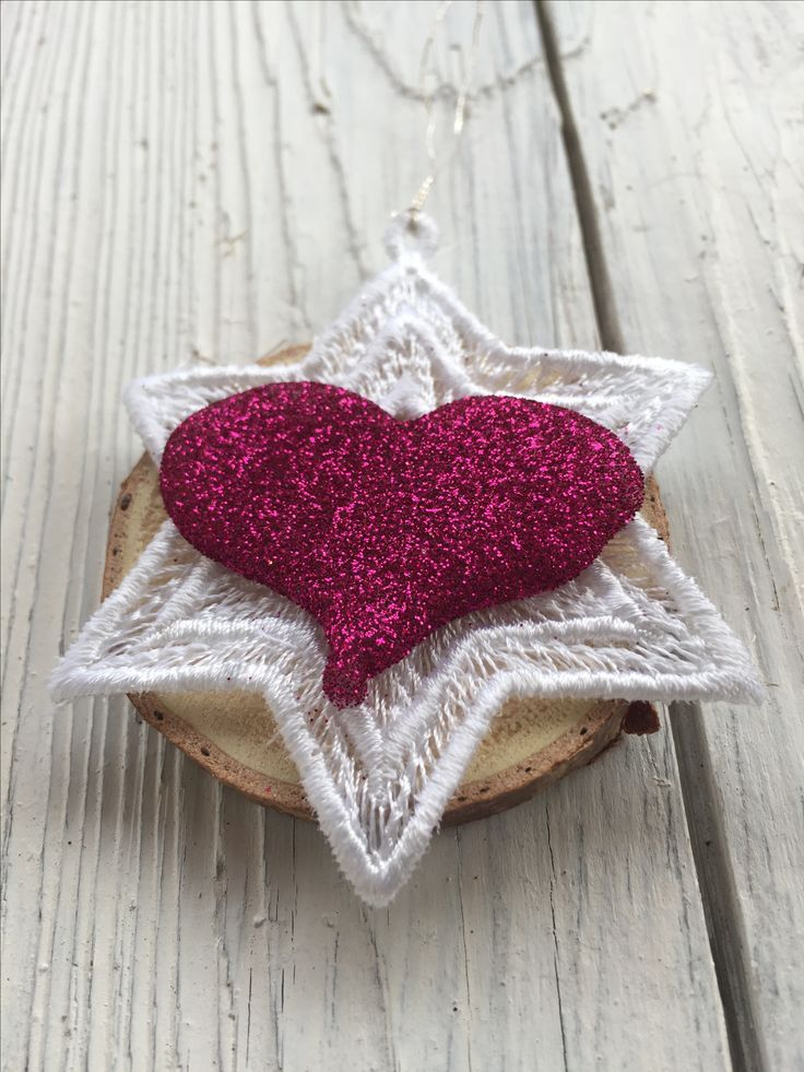Emboideryart -  christmas tree ornament - pink glitter heart