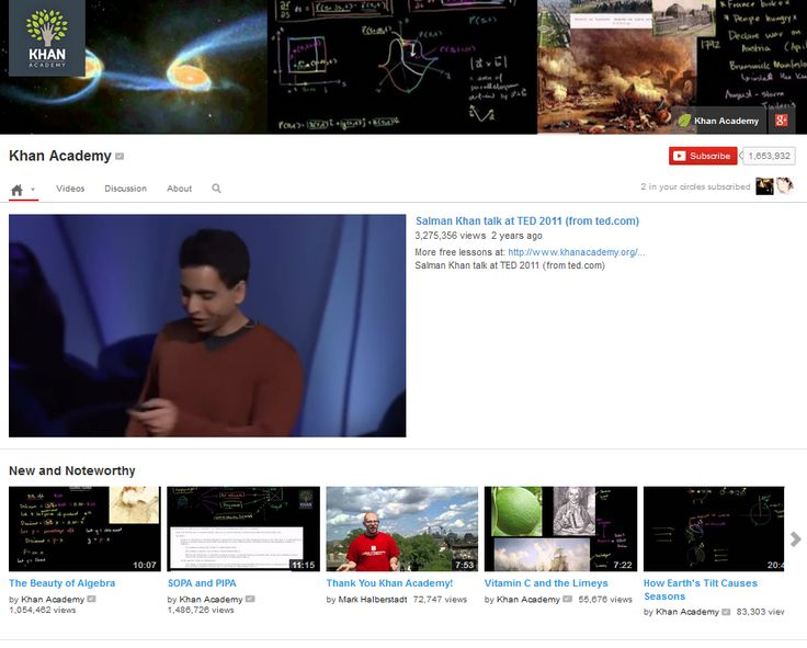 Khan Academy - Math, Chemistry, Physics, U.S. History and several other topics