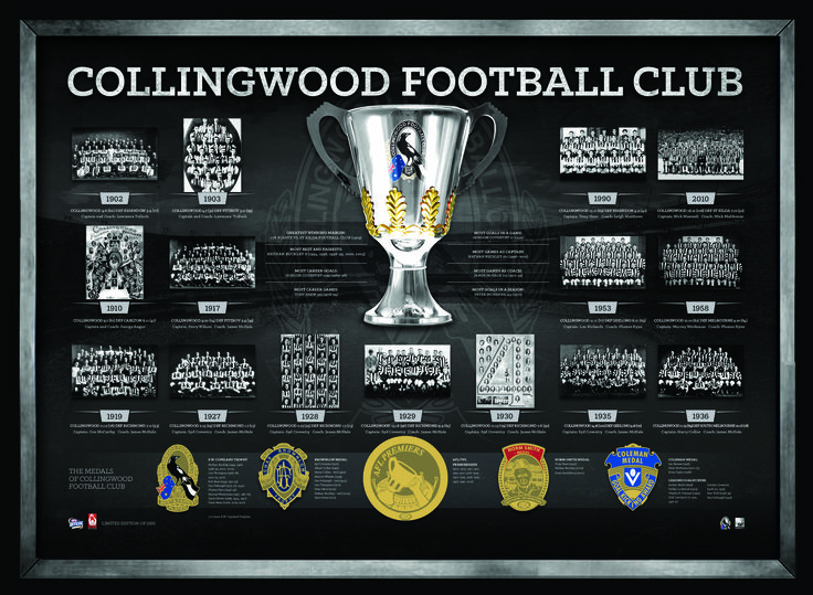 COLLINGWOOD FOOTBALL CLUB THE HISTORICAL SERIES Features foil-printed replica medals awarded to Collingwood's greatest throughout Collingwood's history Limited in edition to 1000 units only Presented in a deluxe timber frame Officially licensed by the AFL Accompanied with an AFL Players Association Certificate of Authenticity Approx framed size 780mm x 580mm