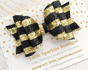 Gold hair bow,black hair bow,glitter hair bow, baby bow, baby/girl hair accessories