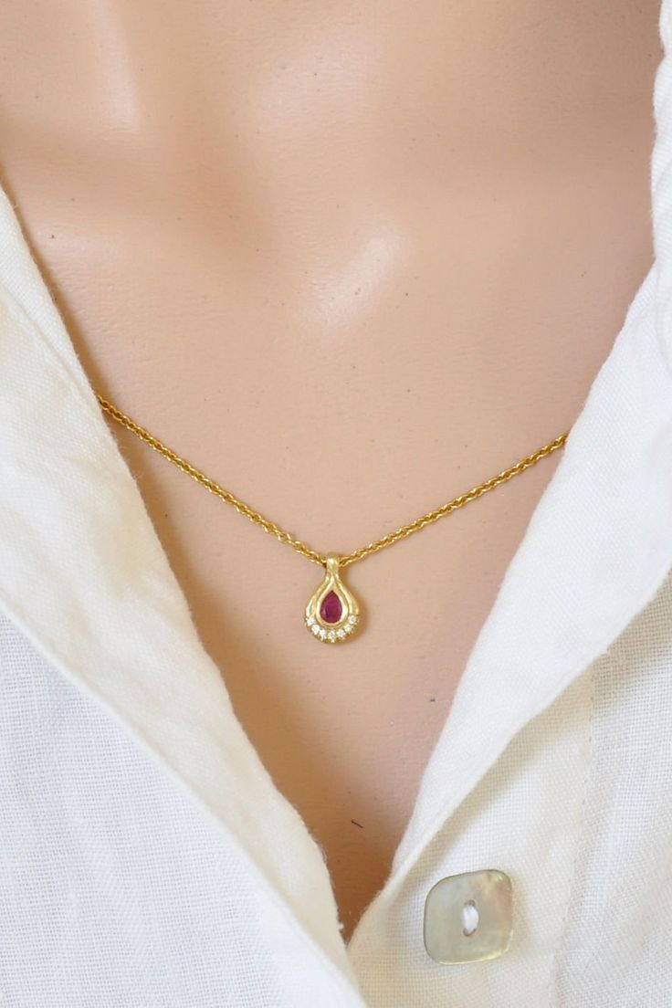 Diamond And Ruby Pendant 18k Gold Pendant Diamonds Love Gift For Valentine S Teardrop Red Ruby Elegant Evening Handmade Necklace Solid Gold Necklace Gold Gemstone Ring Necklace