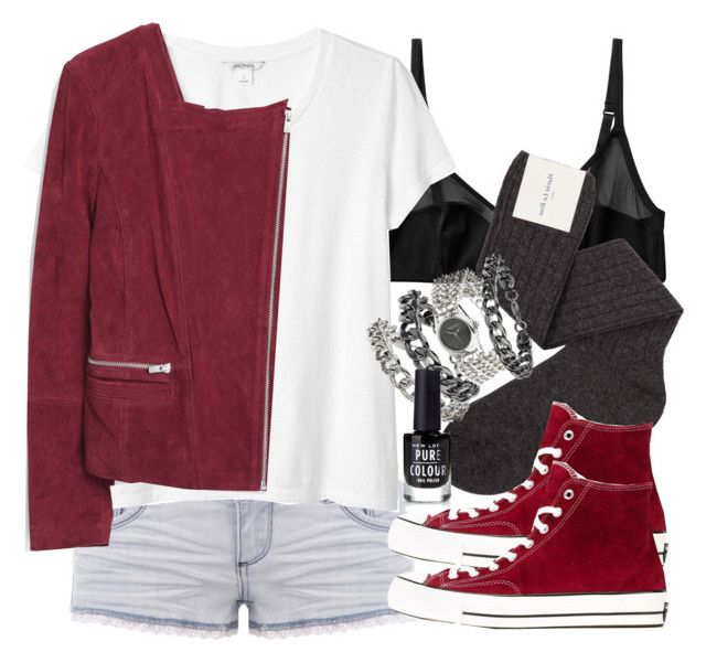"""""""Kira Inspired Outfit with Red High Top Converse"""" by veterization ❤ liked on Polyvore featuring Monki, TALLY WEiJL, Maria La Rosa, Converse, MANGO and Topshop"""