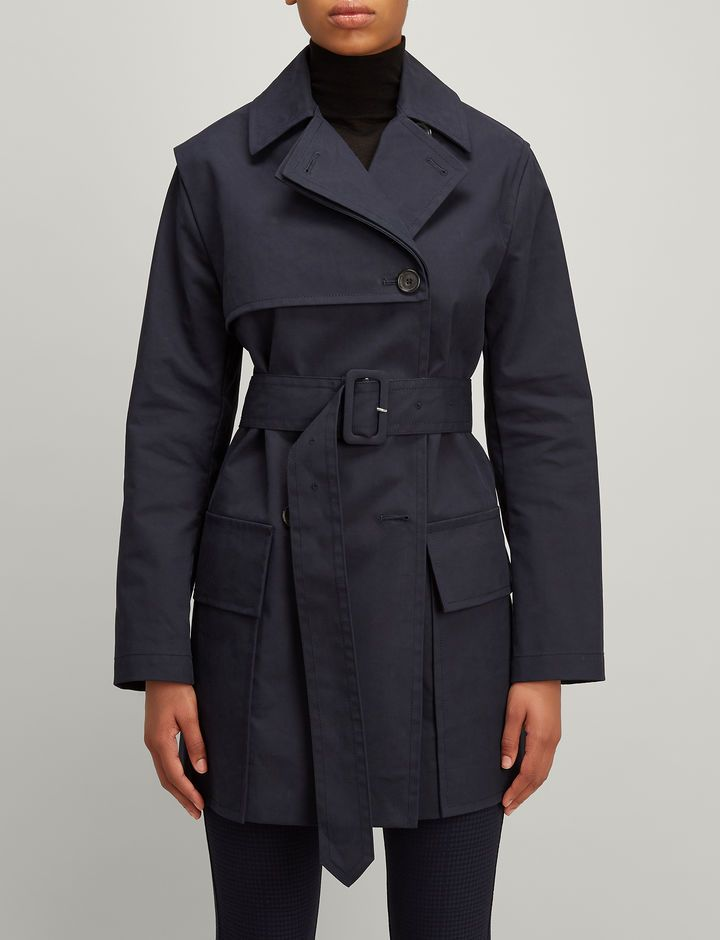 Trench Cotton Aquila Short Coat, in NAVY, large | on Joseph