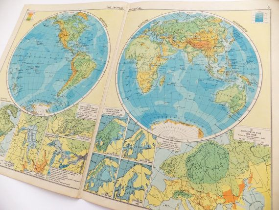 Vintage World Map Poster, Very Large Map of the World, Vintage Map, 1948 map on Etsy, £18.00
