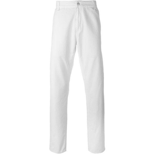Carhartt slim fit trousers ($35) ❤ liked on Polyvore featuring men's fashion, men's clothing, men's pants, men's casual pants, white, mens white pants, mens slim pants and mens slim fit pants