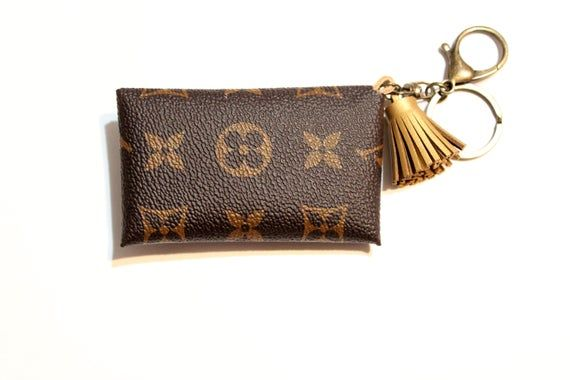 Leather credit card holder and keychain, purse charm
