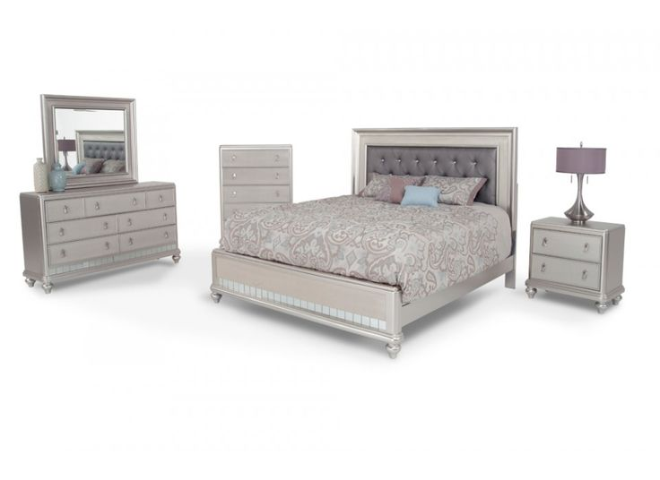 My Diva 8 Piece Queen Bedroom Set has glitz and glam without the crazy price tag! The platinum or midnight finish and faux jewel tufted headboard make this transitional bedroom set an untouchable value loaded with style.