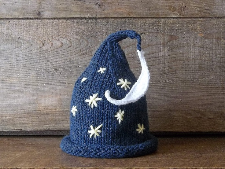 THIS IS KNITTED BUT I COULD CROCHET ONE!!! Stars and moon wizard hat for baby!!