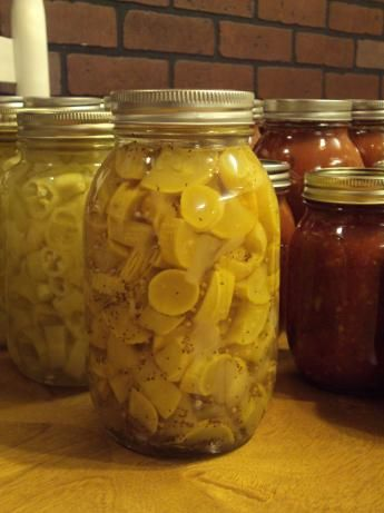 Bread and Butter Squash pickles from Food.com: This is a sweet pickle - type squash. I have used this recipe this season, as has my Sister.