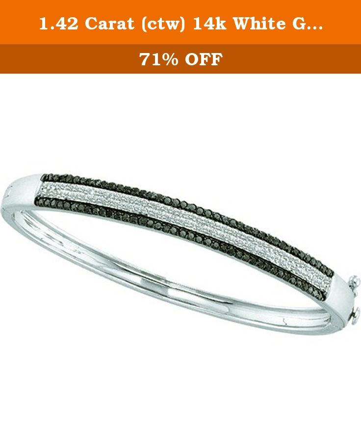 1.42 Carat (ctw) 14k White Gold Round White & Black Diamond Ladies Fashion Bangle Bracelet. This lovely diamond bracelet feature 1.42 ct white & black diamonds in prong setting. All diamonds are sparkling and 100% natural. All our products with FREE gift box and 100% Satisfaction guarantee. SKU # GD51969.