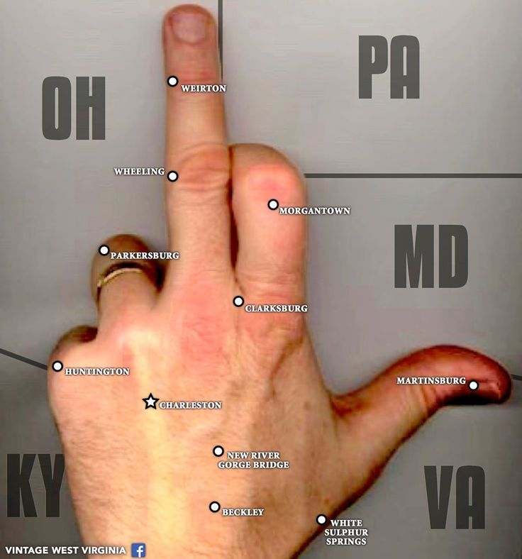 FYI: If you ever ask for directions in West Virginia and somebody flips you the bird, it *may* not be an insult. It's also a pretty common way of improvising a state map around these parts.