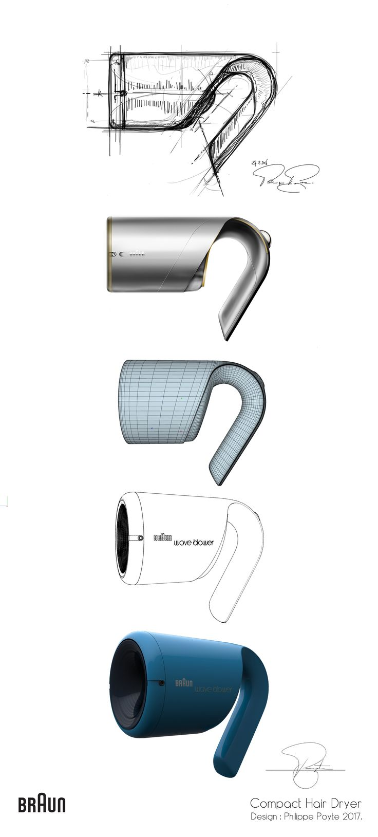 Braun Compact Hair Dryer - Design by Philippe Poyte 2017.