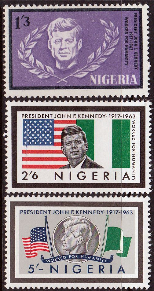 Nigeria 1964 SG 147 - 9 Kennedy Fine Mint As SG 147 9 Scott 159 61 Other Commonwealth Stamps Here