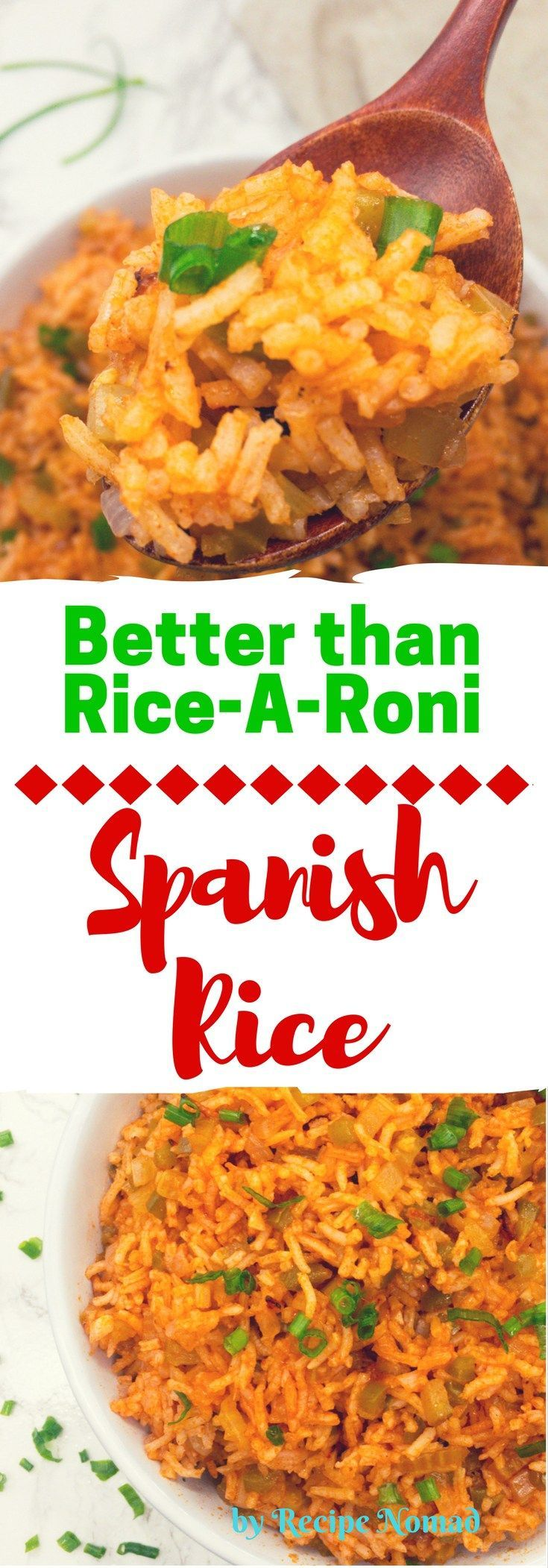 This Easy Homemade Spanish Rice is so much better than Rice-A-Roni Spanish Rice because it's homemade!  Easy Homemade Spanish Rice   Recipe Nomad