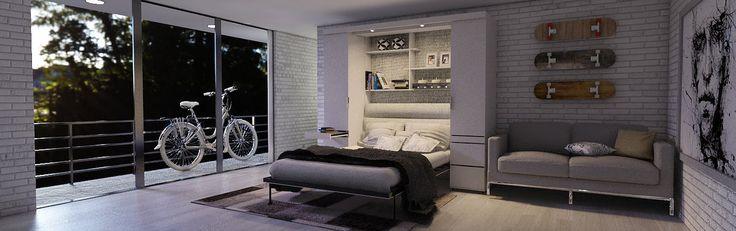Разработано для свободного многофункционального использования. Эта модель мебель трансформер с элементами, необходимыми для достижения комфорта, дизайна и эффективности. Просторные шкафы для всей одежды, Рабочий стол, чтобы сделать домашний офис, за которым спрятана кровать. Всё для того, чтобы ваше жилище выглядело более просторным и с  красивым дизайном.  шкаф_кровать_трансформер умная_мебель многофункциональная_мебель мебель_трансформер шкаф_кровать_стол