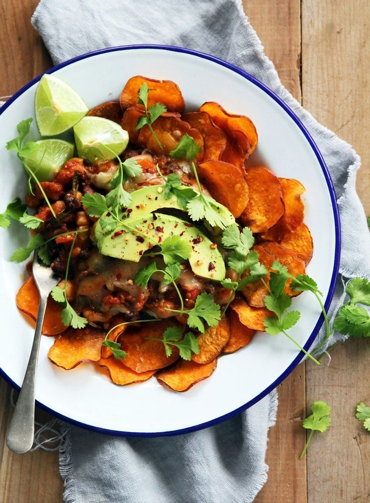 My vegetarian nachos pair a punchy chilli with homemade kumara chips. These are simple to make and ensure that every element of this meal is nourishing as well as delicious.