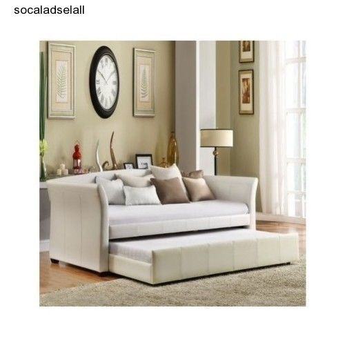 Elegant Contemporary Ivory Tween Daybed With Trundle Sofa Guess Room Futon Decor in Beds & Bed Frames | eBay