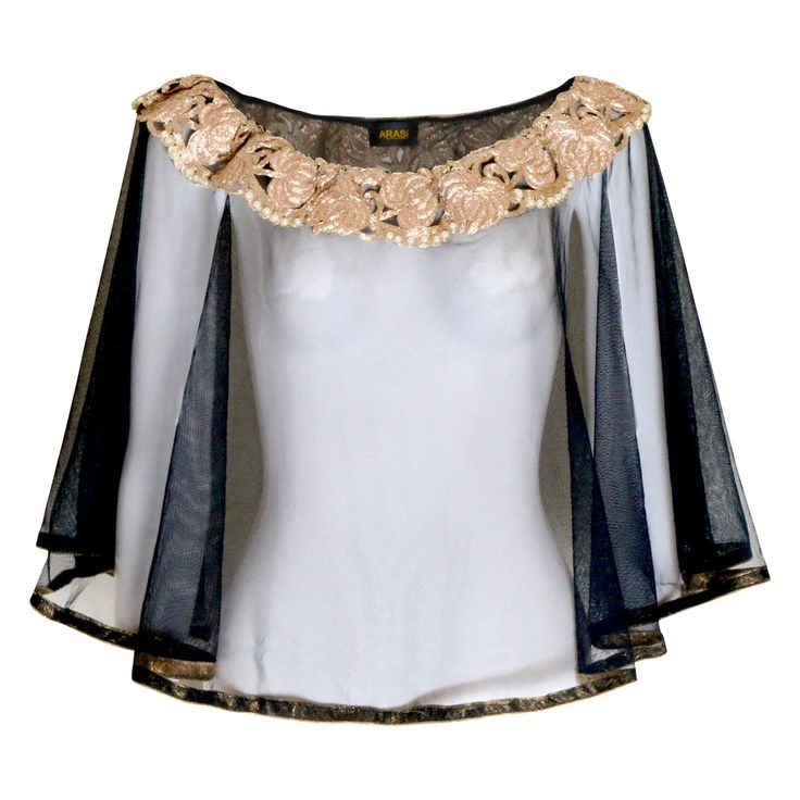 Cape- Embellished Black and Gold by Arasi