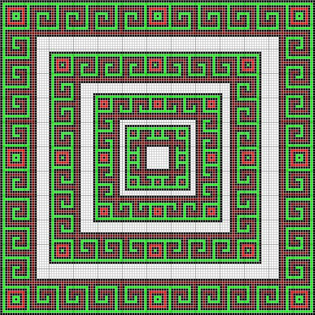 Patrón tapiz clave griega