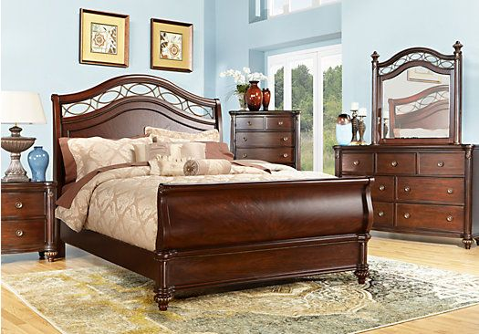 rooms to go sleigh bed shop for a laurel view cherry 5 pc king sleigh bedroom at 19666