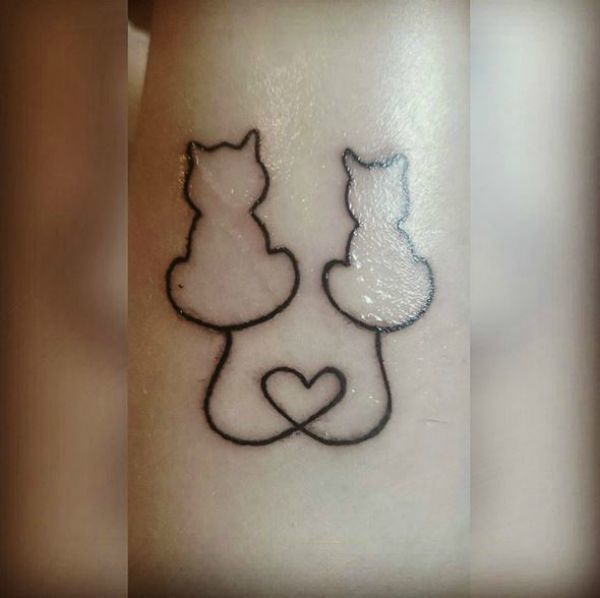 Image result for matching cat tattoos with heart tails
