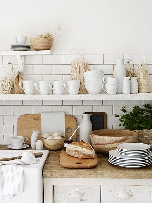 kitchen - white + wood: Kitchens Interiors, White Tile, Kitchens Design, Open Shelves, Butcher Blocks, White Dishes, White Subway Tile, Design Kitchens, White Kitchens