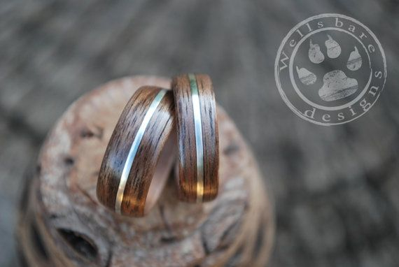 Wood Wedding Bands Sterling Silver Wood Rings by Wellsbaredesigns
