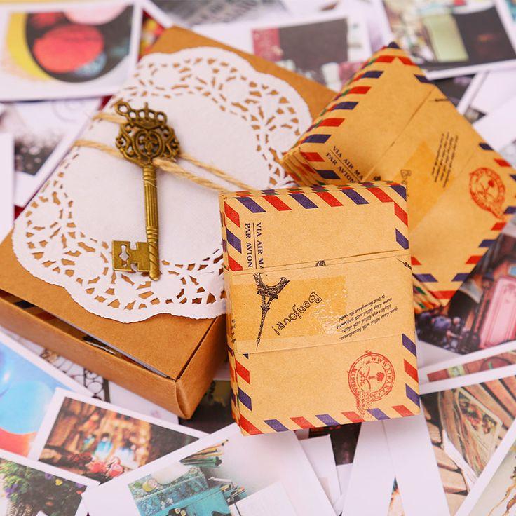 Aliexpress.com : Acquista 60 Carte + 60 Buste + 60 Adesivi in un set LOMO mini cartolina d'auguri cartolina kraft busta regalo di festival da Fornitori busta imbottita affidabili su La Vie Store
