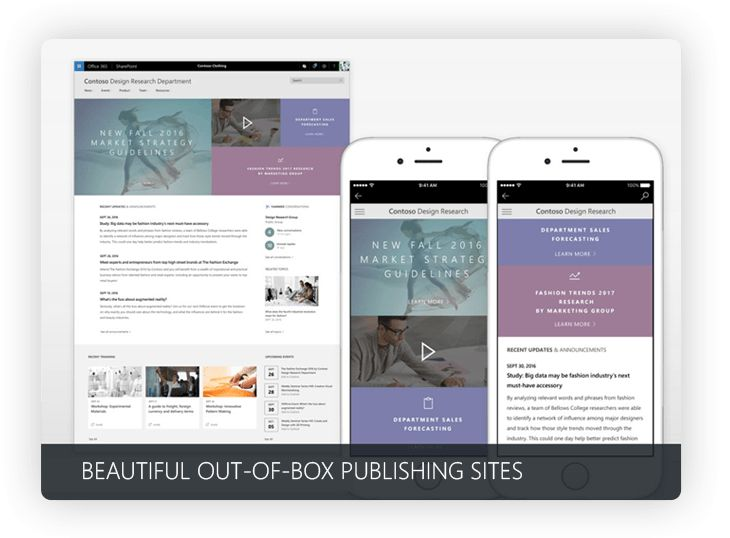 Out of box Office 365 publishing site