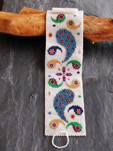 Peyote Cuff Bracelet Beaded Crochet by GlassHouseLampwork on Etsy