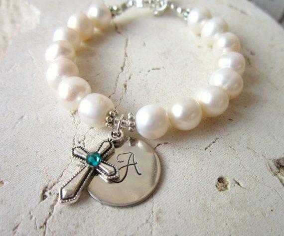 First Communion Gift. Birthstone Cross Bracelet.Girl's Baptism Gift. Girl's Genuine Pearl Initial Bracelet. First Communion Jewelry on Etsy, $30.00