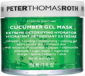 Peter Thomas Roth Cucumber Gel Mask  Refreshing, cooling, moisturizing & calming gel.  helps soothe dry, irritated skin For all skin types May be used under the eye area to help reduce the look of puffiness Excellent to calm and soothe irritated skin after sun exposure, peels, waxing, facials, extractions, etc. Cucumber Extract – helps to naturally nourish, hydrate, comfort, soothe, calm and de-puff the appearance of skin