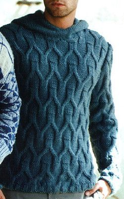 Men's Hand Knitted Hooded Sweater 18B