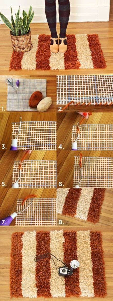 """Latch hook rug. Hook comes with instructions, but it is a slipknot basically. Turn edges of 'canvas' under, and do one yarn per thread til full. You can also find how to use burlap and scrap cloth all over the place. Look up """"poked and prodded rugs"""" can use wool cloth, t shirts, cotton, yarn...."""