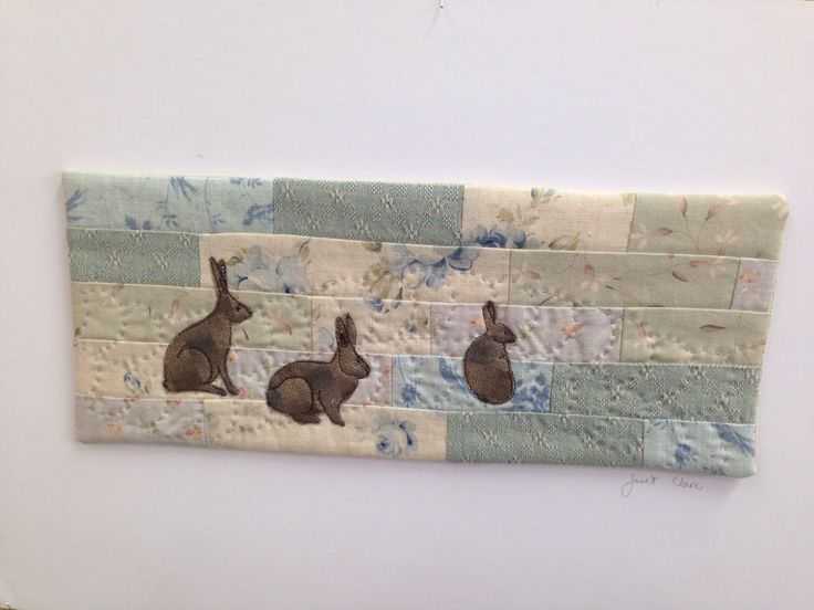 Rabbit textile art by Janet Clare