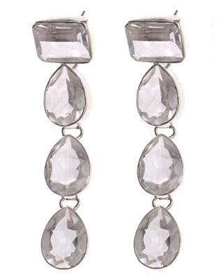 Brincos em Prata com Cristal de Quartzo  Lapidado