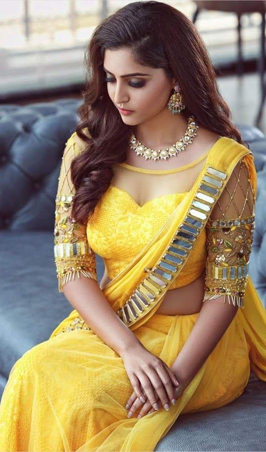 fccc40d2f5aa9a Photo desi hot yellow Saree | desi hot | Blouse designs, Saree ...