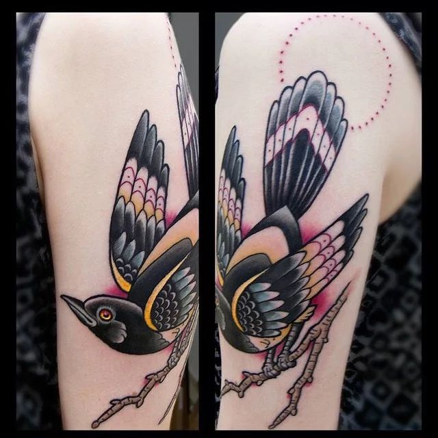 Traditional magpie tattoo - photo#24