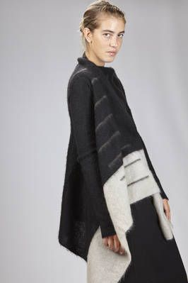 Rick Owens | long cardigan in mohair, polyamide and nylon cloth with two sides of different colors | #rickowens