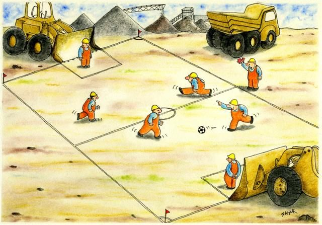 A fun cartoon showing workers playing football while using blade of the bulldozers as the goal posts. A supervisor is showing red cards for the players to stop the play and work!