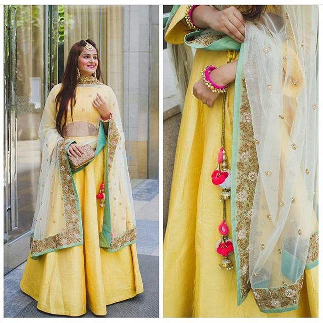 Lovedddd this Lehenga worn by @guiltybytes! 😍 Yellow seems to be the colour this season? Do you have a yellow Indian outfit you love?  #pastel #yellow #Lehenga #bridesmaid #whattowear #weddinggueststyle #fashion #indianfashion #weddingfashion #style #weddingstyle #lightlehenga #bestlehengasof2016 #instafashion #blogger