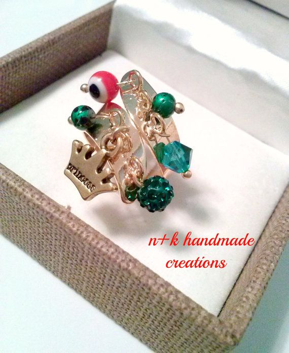 Handmade golden  ring with beads and golden by thenkcreations