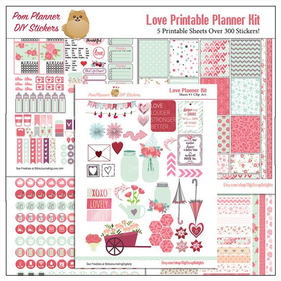 April Showers, May Flowers in Mason Jars Love Printable Planner Kit in Pink & Green February Valentine, Roses, Hearts, Flowers, Mason Jars, 5 PDF Bible Journaling love Icons  Special