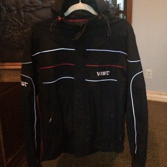 Vist Ski Jacket Sz L Vist Ski Jacket Sz L Black w red and white piping/embroidery Vist Jackets & Coats