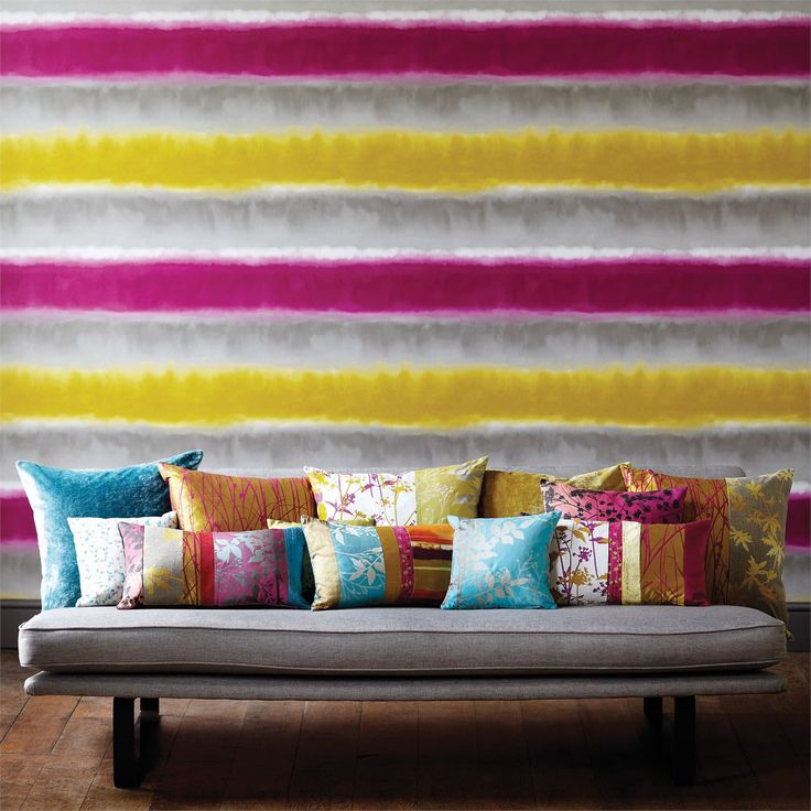 A statement watercolour striped wallpaper from the Kallianthi collection by Harlequin