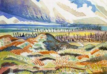 ruined country, painting by paul nash