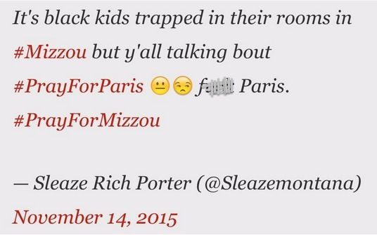 Here's How Some Mizzou Protest Supporters Reacted When the Paris Terror Attacks Grabbed Headlines 11/14/15