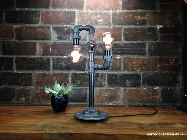 industrie stil lampe aus baustahl und gl hbirne lampen. Black Bedroom Furniture Sets. Home Design Ideas