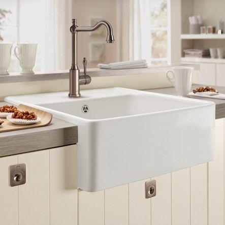 villeroy boch butler 60 white ceramic plus single bowl belfast sink with tap ledge 595mm x 630mm