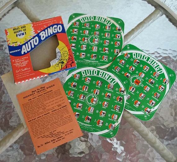 Vintage 50's HIGHWAY AUTO BINGO Traveling Game by tallulahTALLULAH